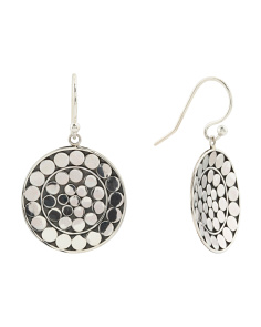 Made In Bali Sterling Silver Beaded Round Drop Earrings