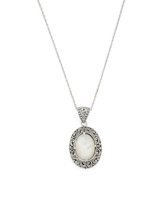 Made In Bali Sterling Silver Mother Of Pearl Oval Necklace
