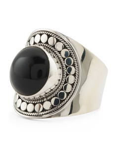 Made In Bali Sterling Silver Onyx Beaded Ring