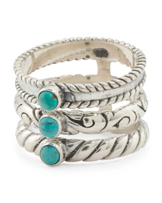 Made In Bali Sterling Silver Turquoise Open 3 Tier Ring