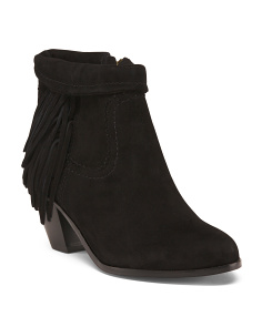 Wide Fringed Suede Booties