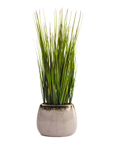 Faux Grass In Metallic Vase