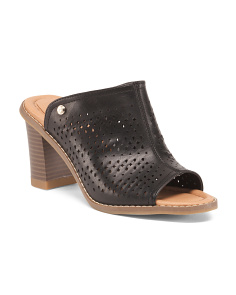 Perforated Peep Toe Comfort Mules