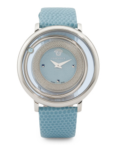 Women's Swiss Made Venus Blue Topaz Halo Watch