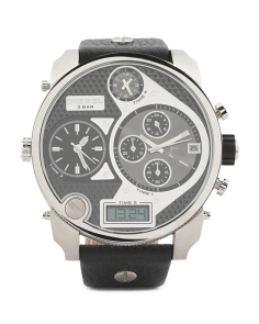 Men's Mr Daddy Oversized Chronograph Leather Strap Watch