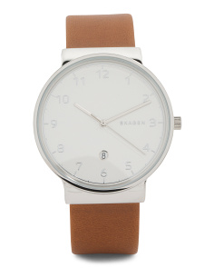 Men's Ancher Leather Strap Watch