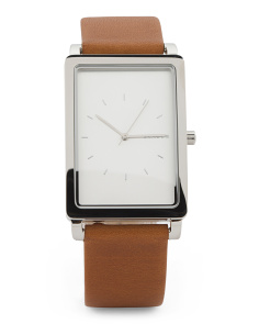 Men's Hagen Rectangular Leather Strap Watch