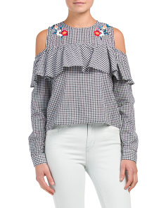 Juniors Ruffle Gingham Top