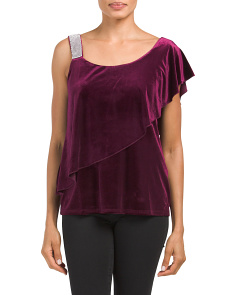 Velvet One Shoulder Ruffle Top