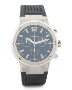 Men's Swiss Made Chronograph Black Mother Of Pearl Watch