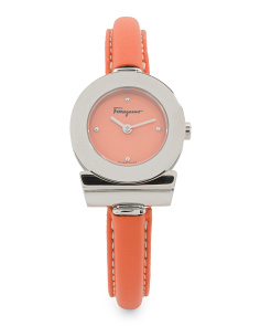 Women's Swiss Made Gancino Logo Case Leather Strap Watch