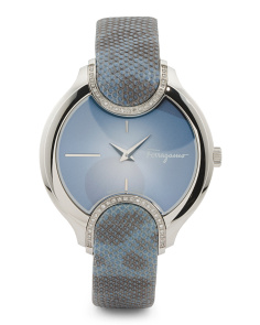 Women's Swiss Made Two Tone Snakeskin Strap Watch