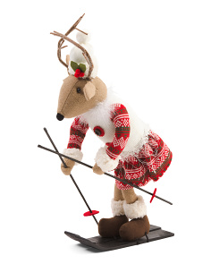 22in Skiing Girl Reindeer