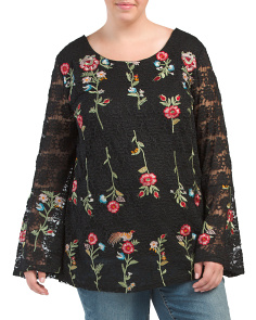 Plus Embroidered Lace Blouse