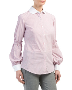 Ruffle Detail Button Down Shirt