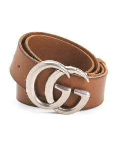 Made In Italy Leather Belt With Logo
