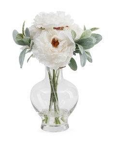 13in Faux Peony In Glass