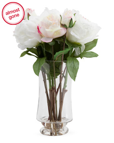 17in Faux Peony In Glass Vase