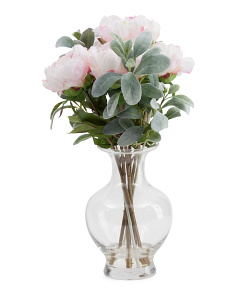 20in Faux Peony And Lambs Ear In Glass Vase