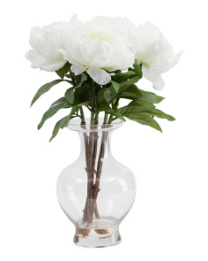 21in Faux Peony In Glass Vase