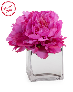 8in Peony In Mirrored Vase