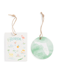 2pc Ceramic Florida Ornaments
