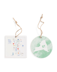 2pc Ceramic New York Ornaments