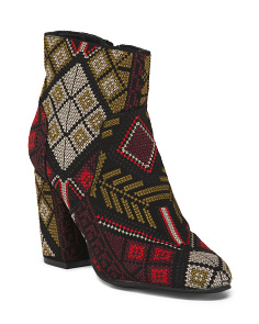 Embroidered Low Block Heel Booties