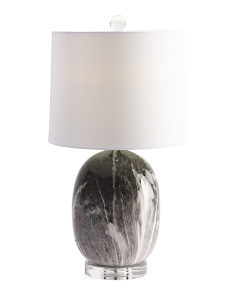 Marbleized Lamp On Crystal Base