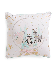 Kids Winter Friends Snowglobe Pillow