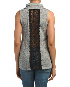 Cowl Neck Top With Crochet Back
