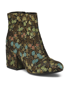 Floral Block Heel Booties