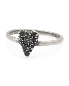 Made In Italy Sterling Silver Black Spinel Heart Ring