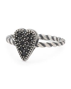 Made In Italy Sterling Silver Black Spinel Twist Heart Ring