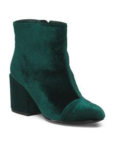 Block Heel Velvet Booties