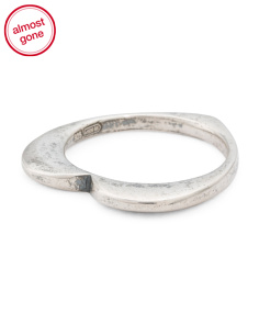 Made In Italy Sterling Silver Polished Heart Profile Ring