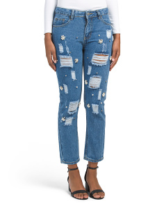 Desctructed Faux Pearl Cluster Jeans