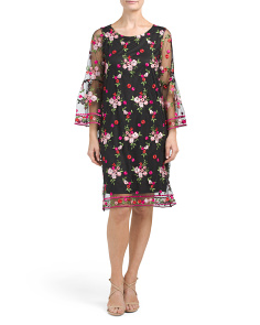 Made In Italy Embroidered Mesh Dress