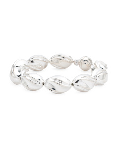 Made In Italy Sterling Silver Fluted Bead Bracelet