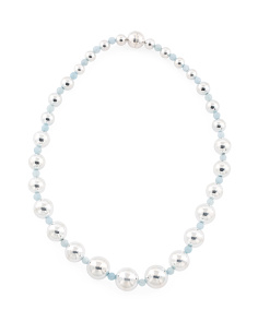 Made In Italy Sterling Silver Milky Aquamarine Necklace