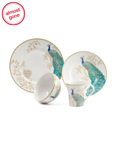 24pc Peacock Garden Porcelain Dinnerware Set
