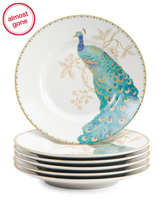 6pc Peacock Garden Porcelain Appetizer Plates