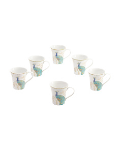 6pc Peacock Garden Mug Set