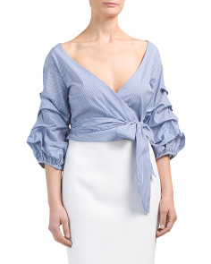 Marina Balloon Sleeve Wrap Top