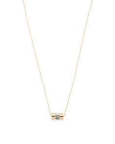 Baguette Crystal Pendant Necklace In Gold Tone