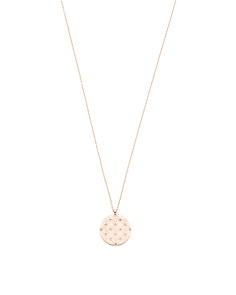 Etched Monogram Disc Pendant Necklace In Rose Gold Tone