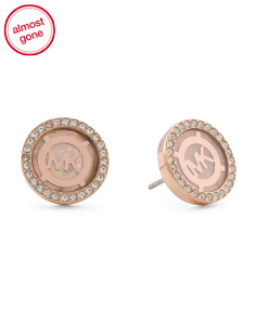 Logo Crystal Button Earrings In Rose Gold Tone