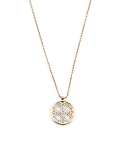 Monogram Disc Pendant Necklace In Gold Tone