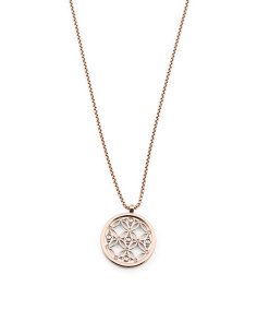 Monogram Disc Pendant Necklace In Rose Gold Tone