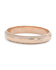 Pave Crystal Accented Bangle Bracelet In Rose Tone